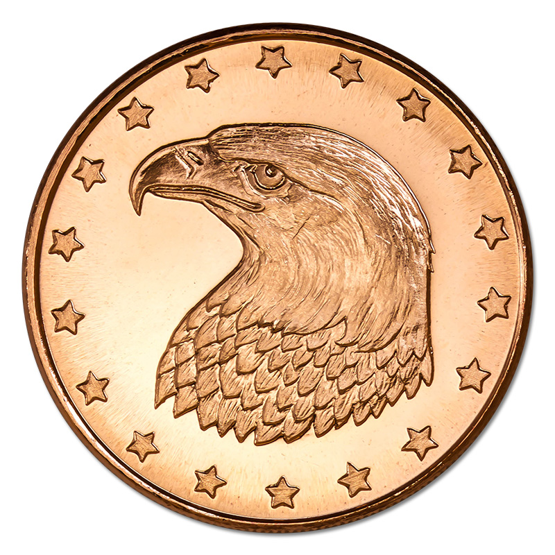 Copper Bullion 1 oz Eagle Round