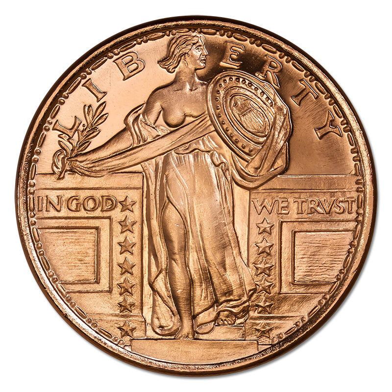 Copper Bullion 1 oz Standing Liberty Round