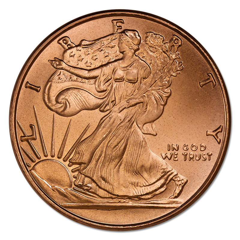 Copper Bullion 1 Oz Walking Liberty Round Golden Eagle Coins