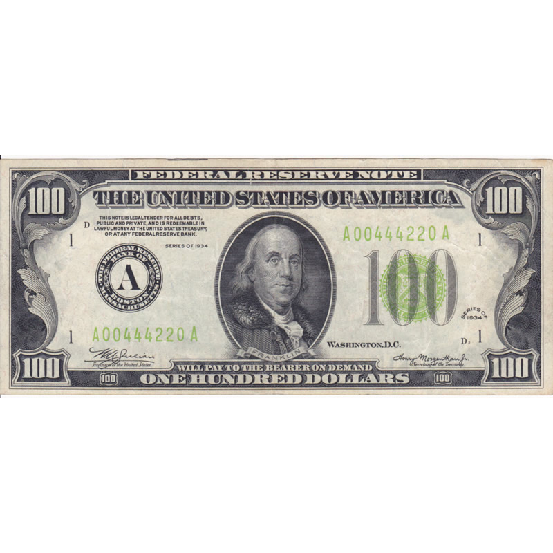 1934 $100 Federal Reserve Note XF