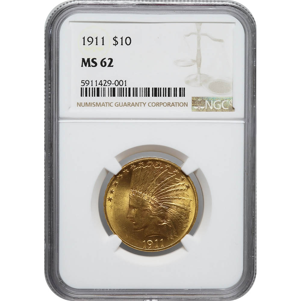 Certified US Gold $10 Indian 1911 MS62 NGC