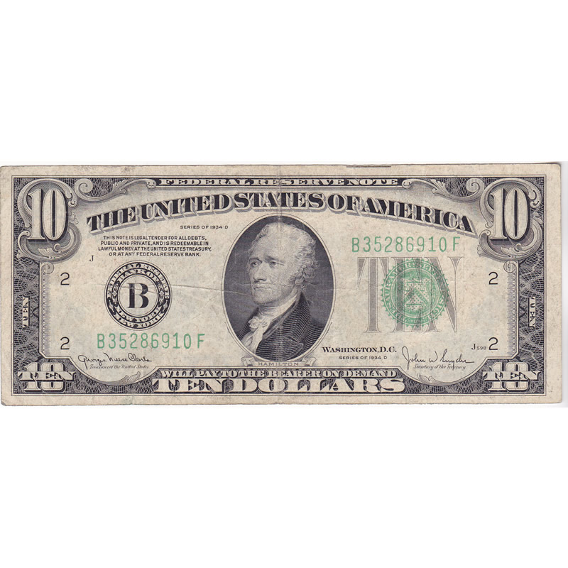 1934D $10 Federal Reserve Note F-VF