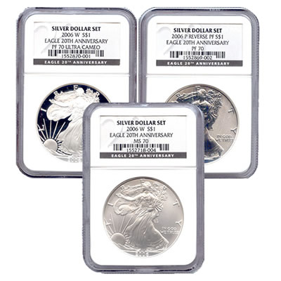 Certified 2006 20th Anniversary 3pc Silver Set MS & PF70 (Single Holder)