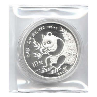 1991 Chinese Silver Panda 1 Oz Small Date Golden Eagle