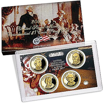 US Presidential Dollar 4pc Proof Set 2008