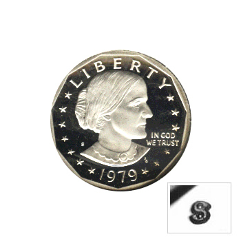 Susan B Anthony Dollar 1979-S Proof Type 2