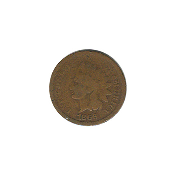 Indian Head Cent 1866 G-VG