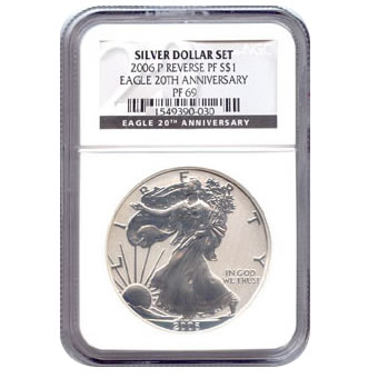 Certified 2006-P 20th Anniversary American Eagle Silver Reverse Proof PF69