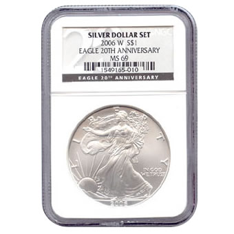 Certified 2006-W 20th Anniversary American Eagle Silver Uncirculated MS69