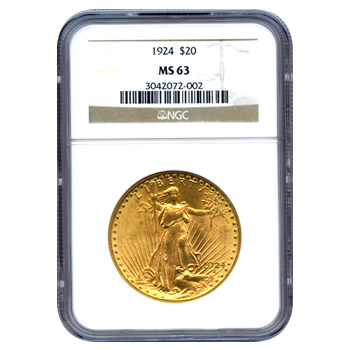 Certified $20 St Gaudens MS63 (Dates Our Choice) PCGS or NGC