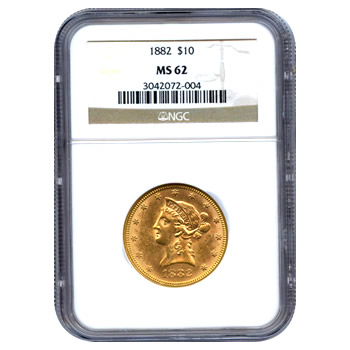 Certified US Gold $10 Liberty MS62 (Dates Our Choice) PCGS or NGC