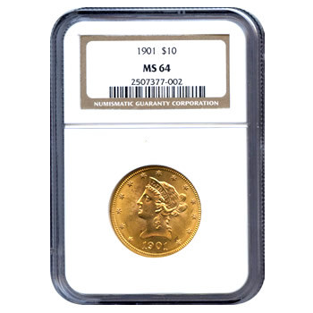 Certified US Gold $10 Liberty MS64 (Dates Our Choice) PCGS or NGC