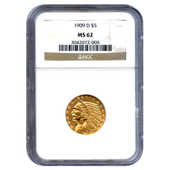Certified US Gold $5 Indian MS62 (Dates Our Choice) PCGS or NGC
