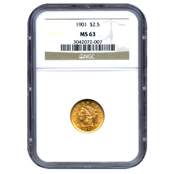 Certified US Gold $2.5 Liberty MS63 (Dates Our Choice) PCGS or NGC
