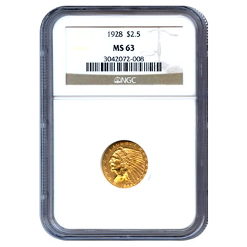 Certified US Gold $2.5 Indian MS63 (Dates Our Choice) PCGS or NGC