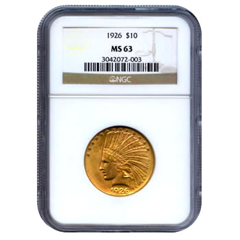 Certified US Gold $10 Indian MS63 (Dates Our Choice) PCGS or NGC