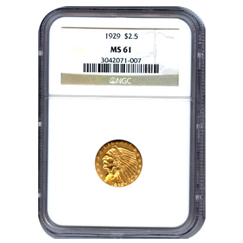 Certified US Gold $2.5 Indian MS61 (Dates Our Choice) PCGS or NGC