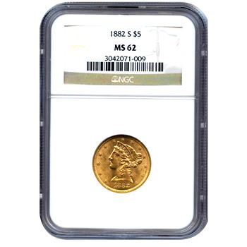 Certified US Gold $5 Liberty MS62 (Dates Our Choice) PCGS or NGC