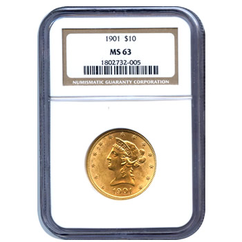 Certified US Gold $10 Liberty MS63 (Dates Our Choice) PCGS or NGC