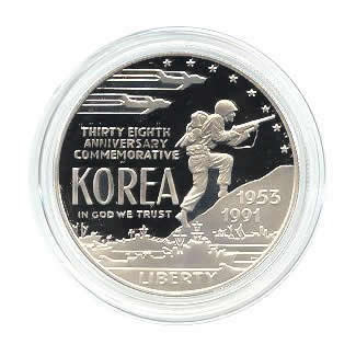 US Commemorative Dollar Proof 1991-P Korean War