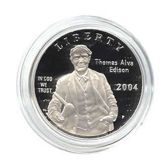 US Commemorative Dollar Proof 2004-P Thomas Edison