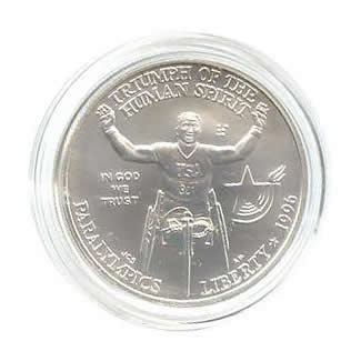US Commemorative Dollar Uncirculated 1996-D Wheelchair
