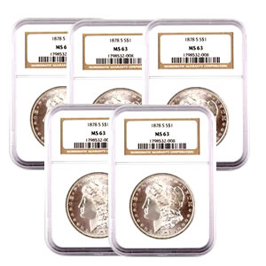 Certified Morgan Silver Dollars MS63 (5 Different Dates) (Our Choice)