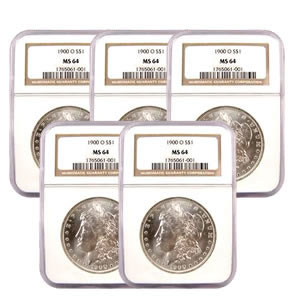 Certified Morgan Silver Dollars MS64 (5 Different Dates) (Our Choice)
