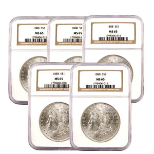 Certified Morgan Silver Dollars MS65 (5 Different Dates) (Our Choice)