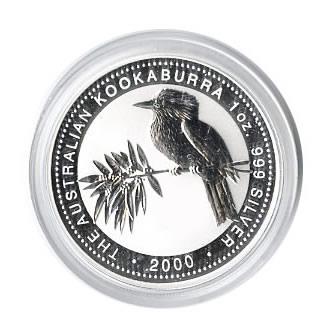 Australian Kookaburra 1 Oz Silver 2000 Golden Eagle Coins