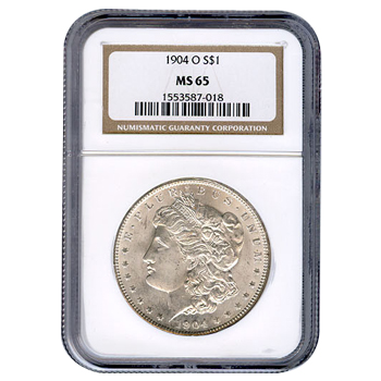 Certified Morgan Silver Dollar 1904-O MS65 NGC