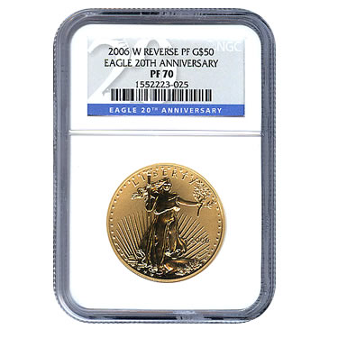 Certified 2006-W 20th Anniversary American Eagle Gold Reverse Proof PF70 NGC