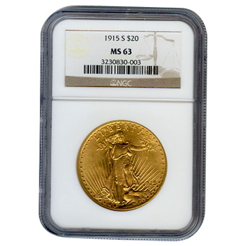 Certified $20 St Gaudens 1915-S MS63 NGC