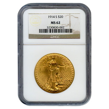 Certified $20 St Gaudens 1914-S MS62 NGC