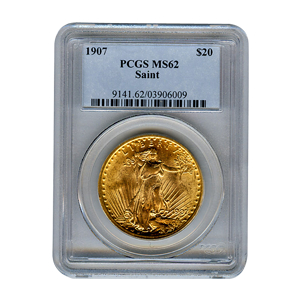 Certified $20 St Gaudens 1907 MS62 PCGS