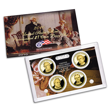 US Presidential Dollar 4pc Proof Set 2010