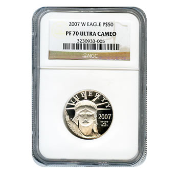 Certified Platinum American Eagle Proof 2007-W Half Ounce PF70 NGC
