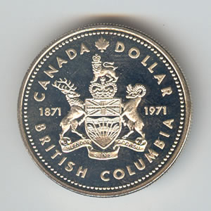 Canada 1971 Silver Dollar British Columbia Golden Eagle