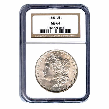 Certified Morgan Silver Dollar 1887 MS64 NGC