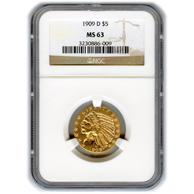 Certified US Gold $5 Indian MS63 (Dates Our Choice) PCGS or NGC