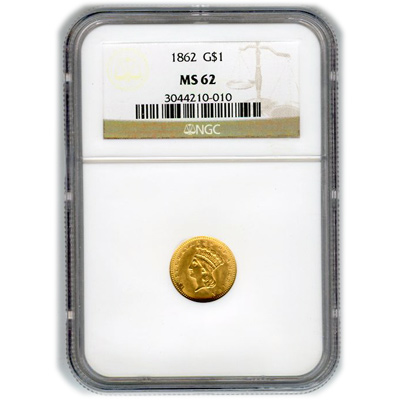Certified US Gold $1 Liberty MS62 type 3 (Dates Our Choice) PCGS or NGC