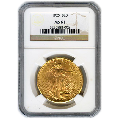 Certified $20 St Gaudens MS61 (Dates Our Choice) PCGS or NGC