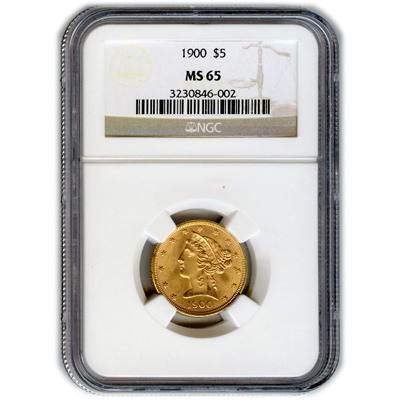 Certified US Gold $5 Liberty MS65 (Dates Our Choice) PCGS or NGC
