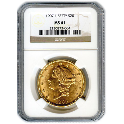 Certified US Gold $20 Liberty MS61 (Dates Our Choice) PCGS or NGC