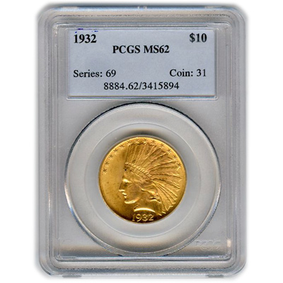 Certified US Gold $10 Indian MS62 (Dates Our Choice) PCGS or NGC