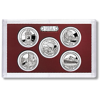 US Proof Set America the Beautiful Silver Quarters Without Box 2010