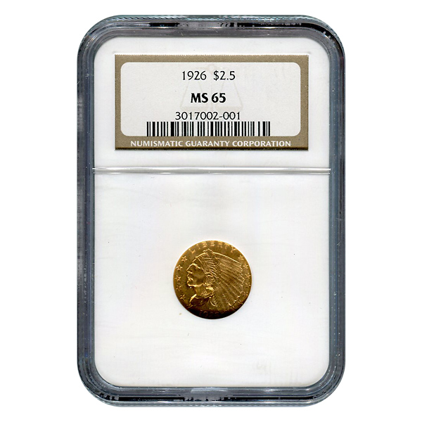 Certified US Gold $2.5 Indian MS65 (Dates Our Choice) PCGS or NGC