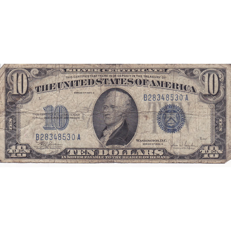 1934C $10 Silver Certificate G-VG