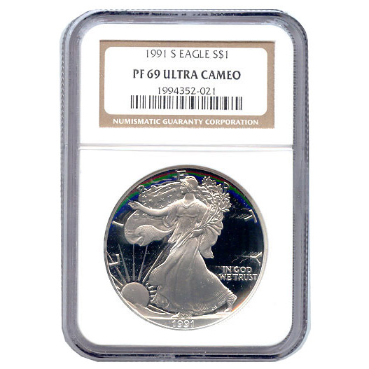 Certified Proof Silver Eagle PF69 1991