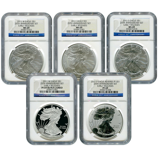 Certified 2011 American Eagle 25th Anniversary 5pc Silver Set MS & PF69 NGC